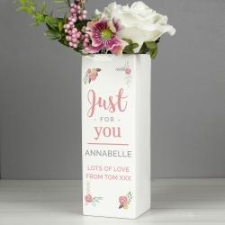 Personalised Floral Bouquet Square Vase