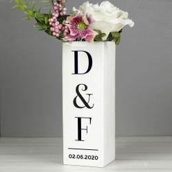 Personalised Initials Square Vase