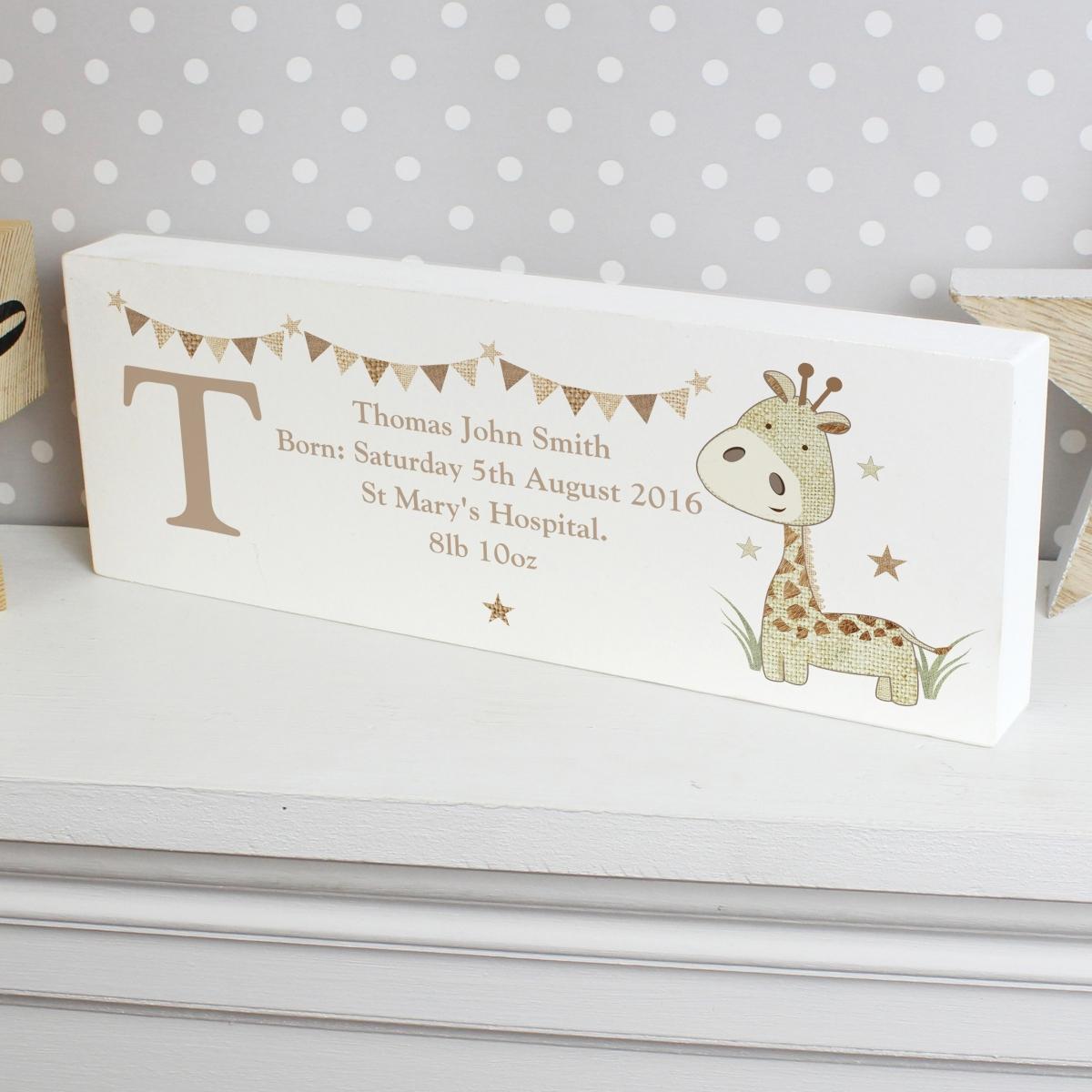 Personalised Hessian Giraffe Wooden Block Sign