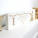Personalised Hessian Rabbit Wooden Block Sign