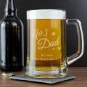 Personalised No.1 Dad Glass Pint Stern Tankard