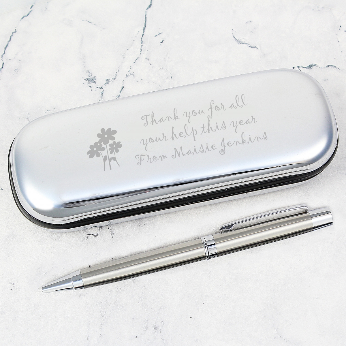 Personalised Teacher Flowers Pen and Box Set