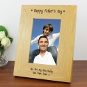 Personalised Oak Finish 6x4 Happy Fathers Day Photo Frame