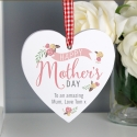 Personalised Floral Bouquet Mother's Day Wooden Heart Decoration