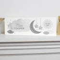 Personalised New Baby Moon & Stars Wooden Block Nursery Sign