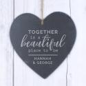 Personalised Together Large Slate Heart Decoration