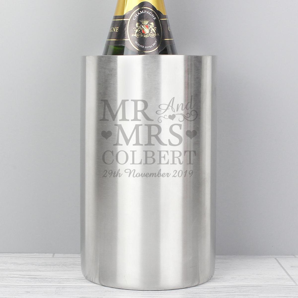 Personalised Mr & Mrs Wine Cooler
