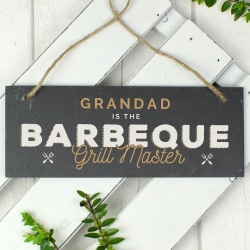 """Personalised """"Barbeque Grill Master"""" Printed Hanging Slate Plaque"""
