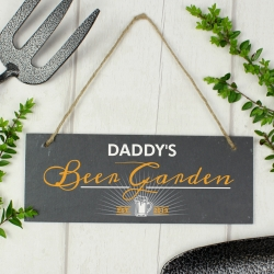 "Personalised ""Beer Garden"" Printed Hanging Slate Plaque"