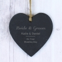Personalised Classic Small Slate Heart Decoration