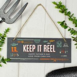 """Personalised """"Keep It Reel"""" Printed Hanging Slate Plaque"""