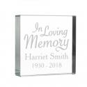 """Personalised """"In Loving Memory"""" Large Crystal Token"""