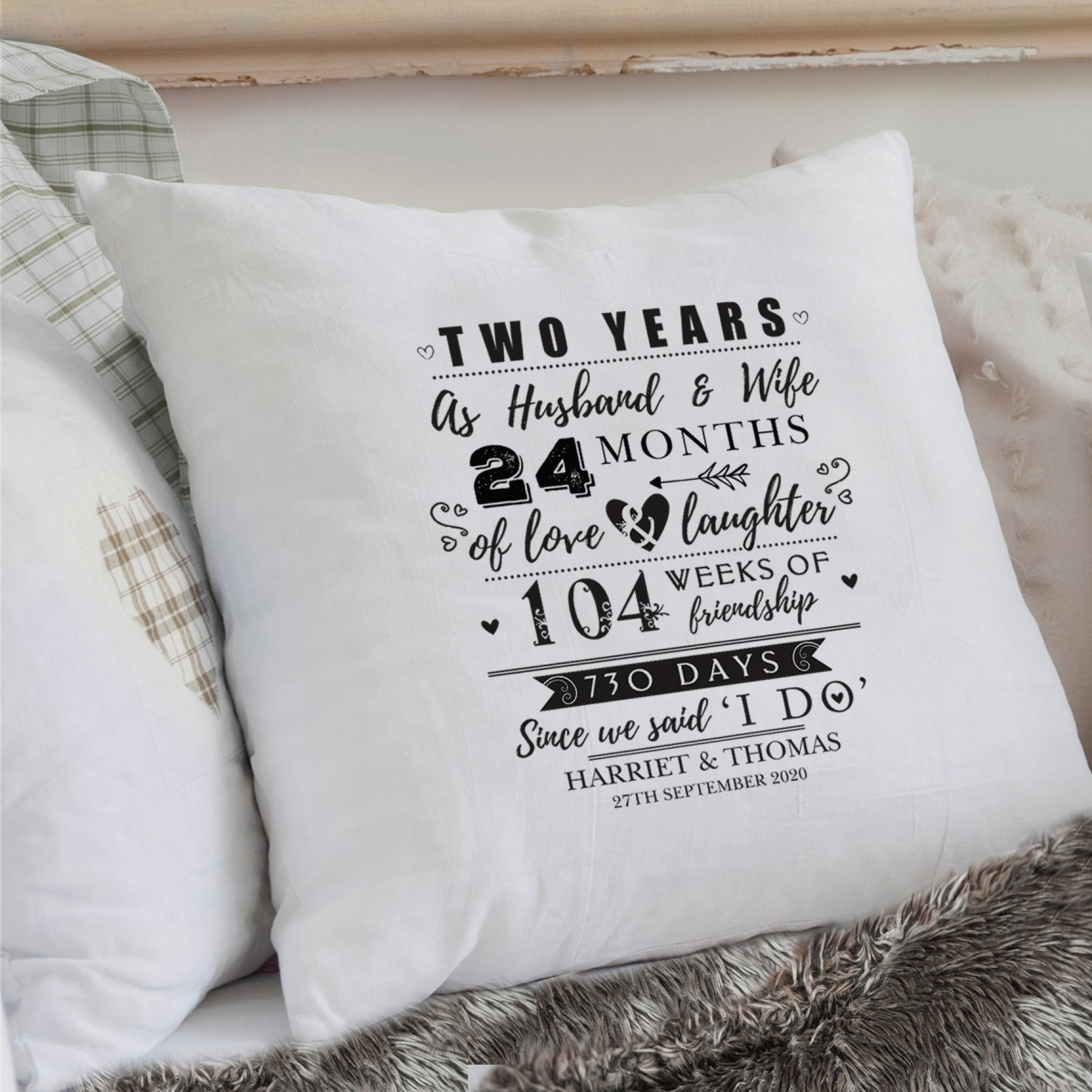 Personalised 2nd Anniversary Cushion Cover