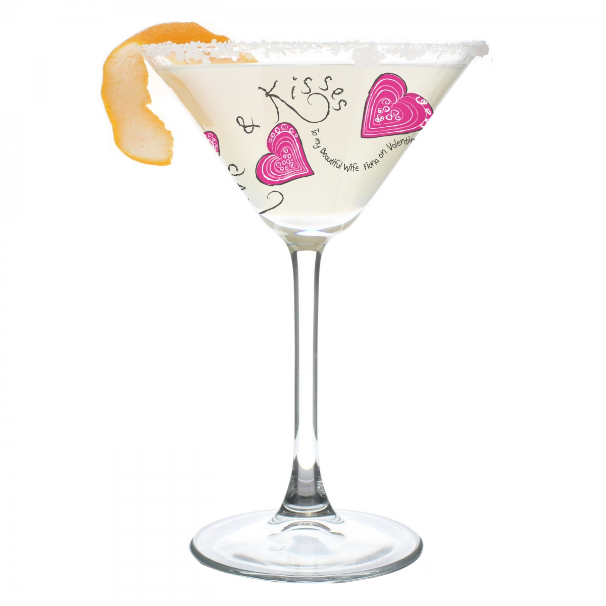 Personalised Love & Kisses Cocktail Glass