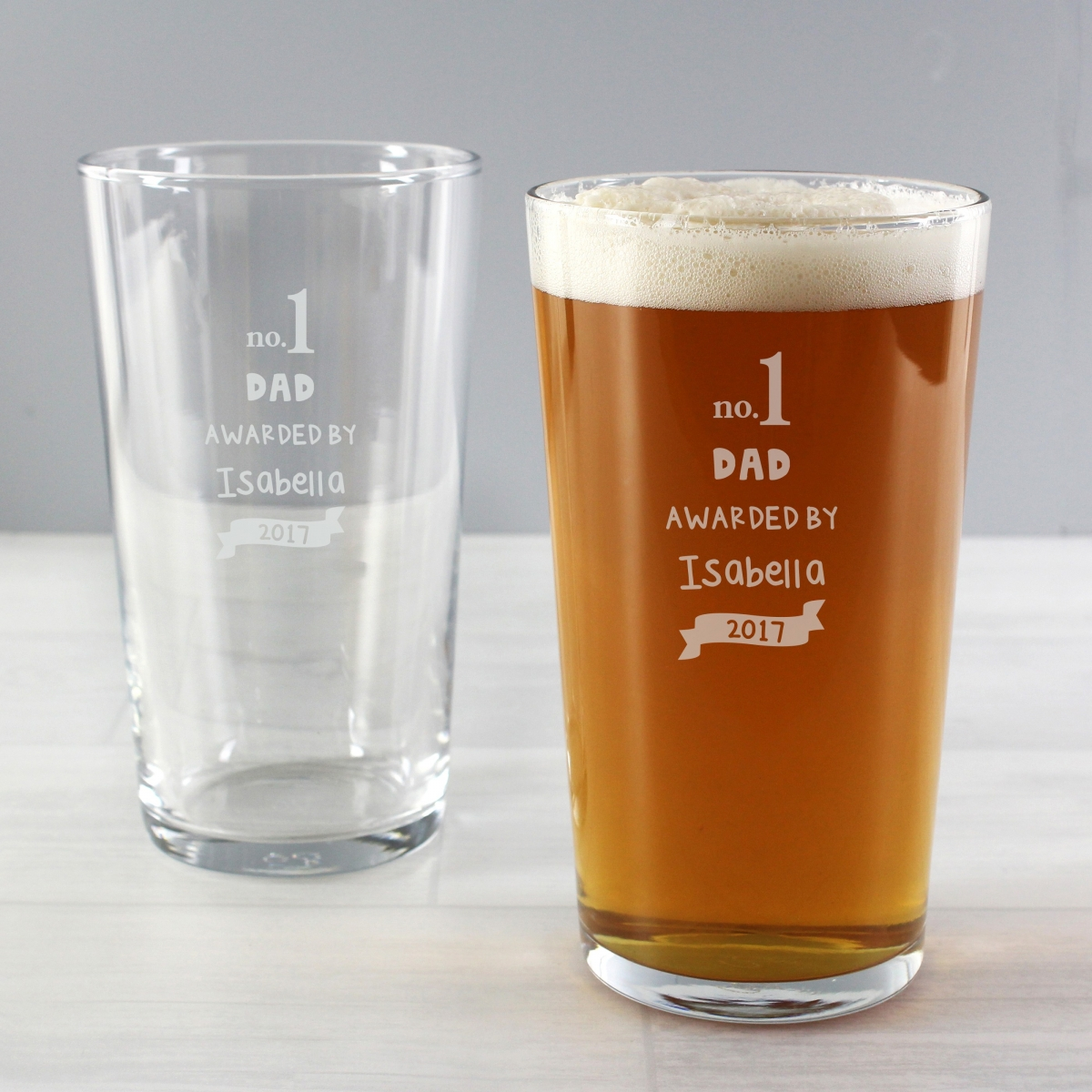 Personalised no.1 Awarded By Pint Glass