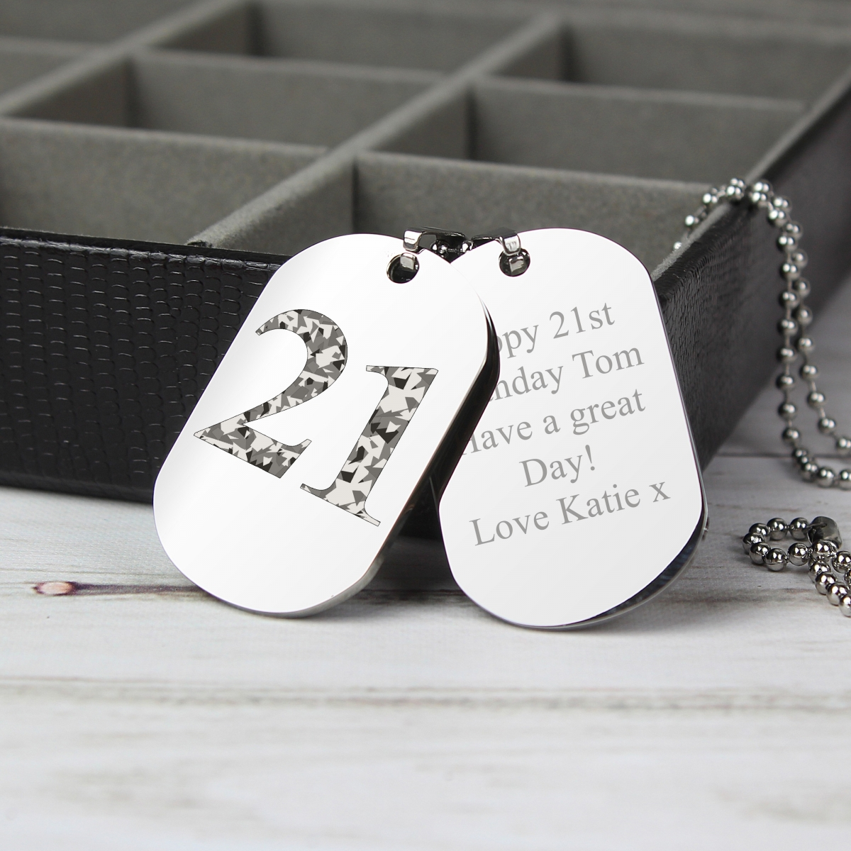 Personalised Camouflage Age Stainless Steel Double Dog Tag Necklace