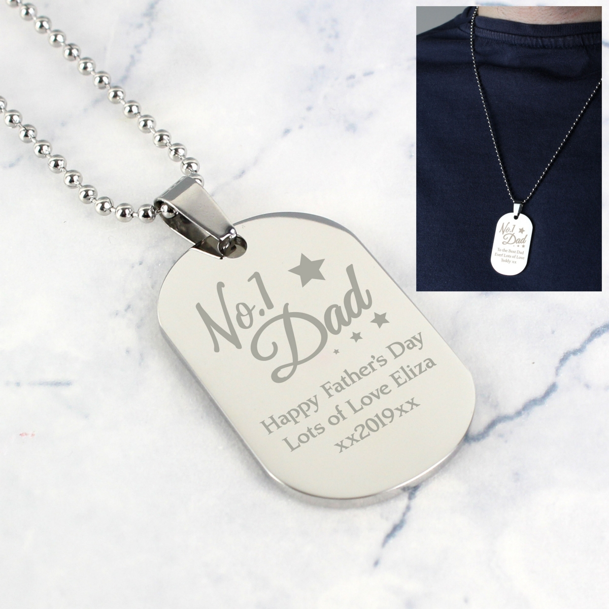 Personalised No.1 Dad Stainless Steel Dog Tag Necklace