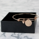 Personalised Rose Gold Coloured Disc and Heart Charm Bracelet