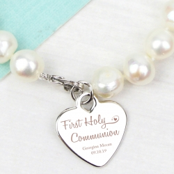 Personalised First Holy Communion Swirls & Hearts White Freshwater Pearl Bracelet