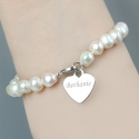 Personalised White Freshwater Pearl Scripted Name Bracelet