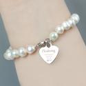 Personalised Christening Swirls & Hearts White Freshwater Pearl Bracelet