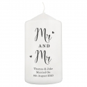 Personalised Married Couple Pillar Candle