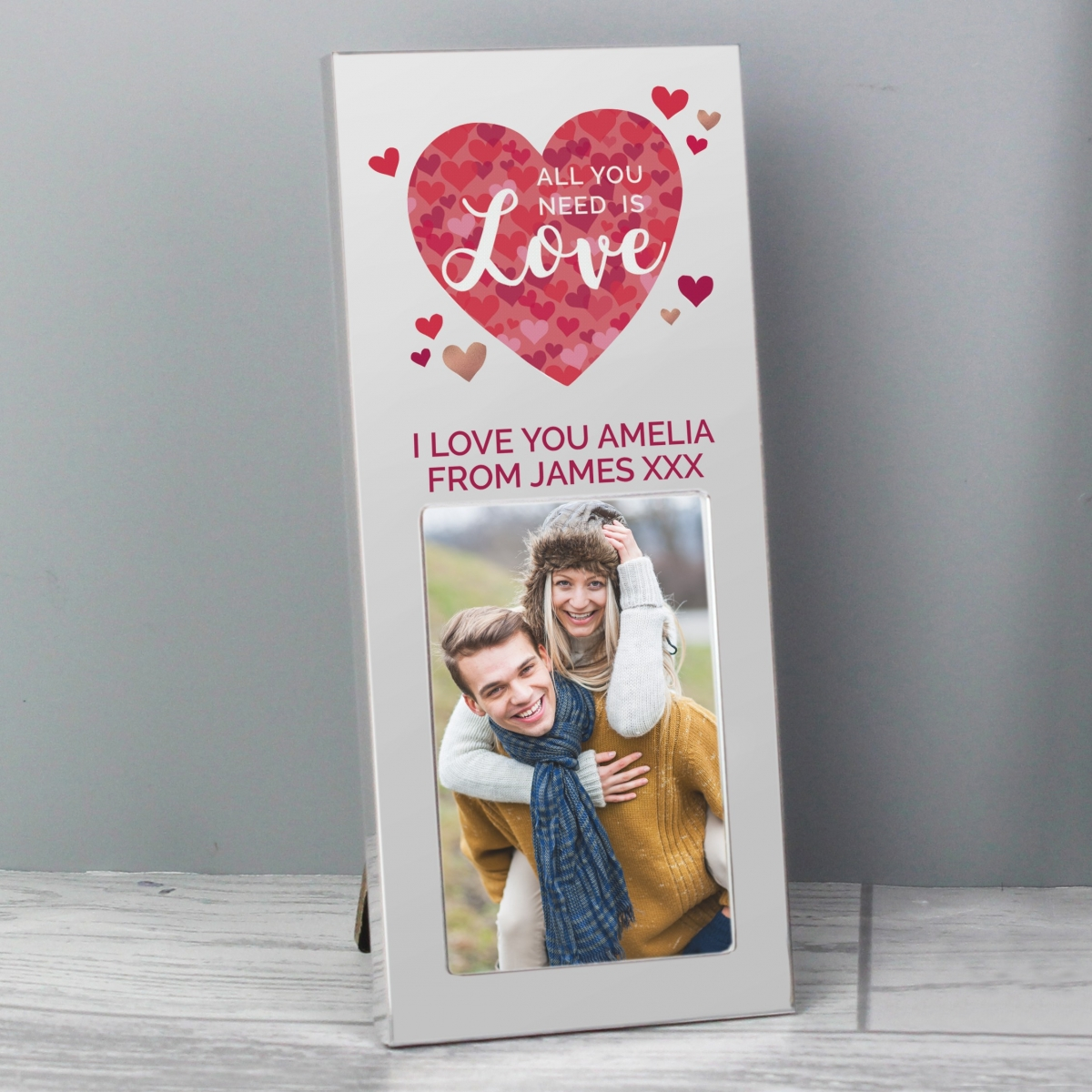Personalised 'All You Need is Love' Confetti Hearts 3x2 Photo Frame