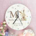 Personalised Hessian Rabbit Shabby Chic Large Wooden Clock