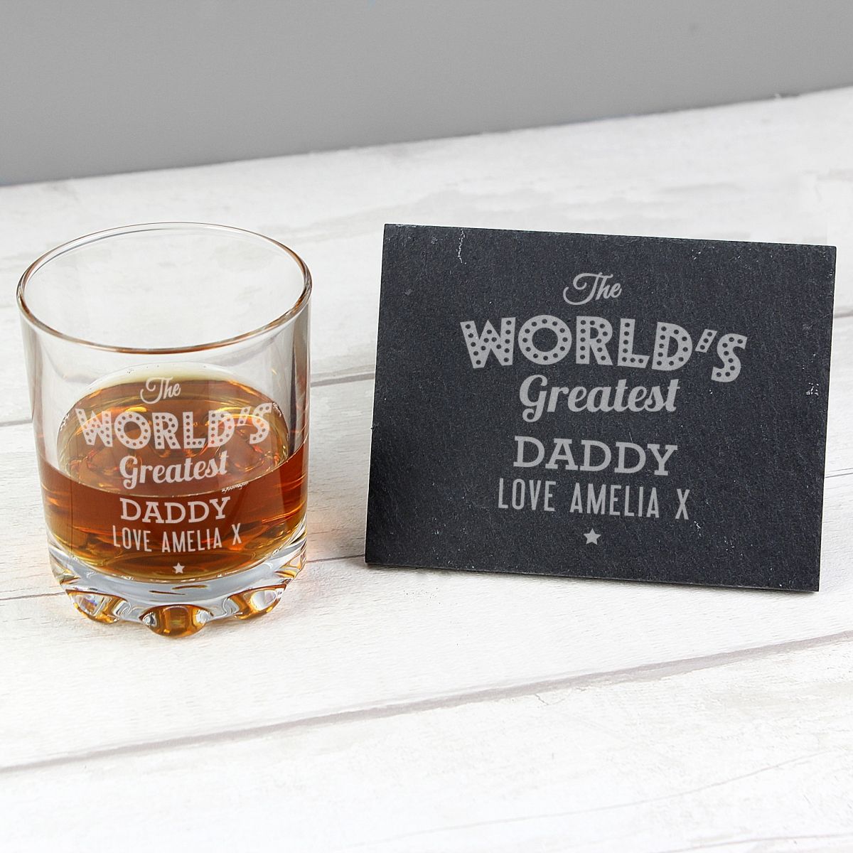 """Personalised """"The Worlds Greatest"""" Whisky Tumbler & Slate Coaster Set"""