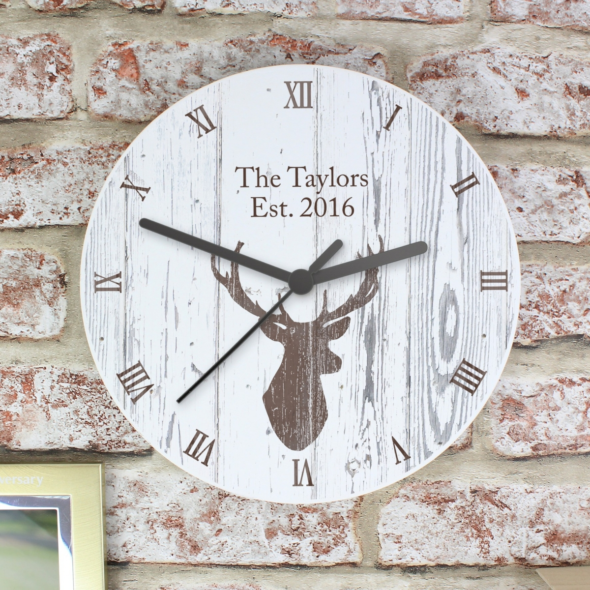 Personalised Highland Stag Shabby Chic Wooden Clock
