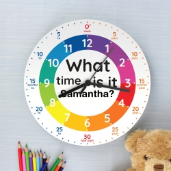 Personalised What Time Is It? Wooden Clock