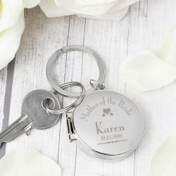 Personalised Decorative Wedding Mother of the Bride Round Photo Keyring