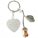 Personalised Silver Plated Rose Gold Rose Keyring