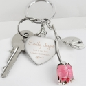 Personalised Silver Plated Swirls & Hearts Pink Rose Keyring