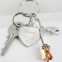 Personalised Silver Plated Swirls & Hearts Rose Gold Rose Keyring