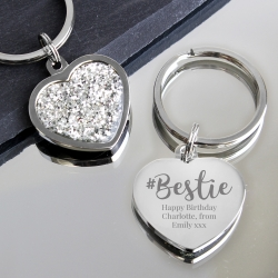 Personalised Bestie Diamante Heart Keyring