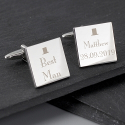 Personalised Decorative Wedding Best Man Square Cufflinks