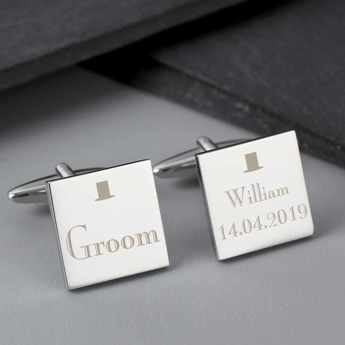 Personalised Decorative Wedding Groom Square Cufflinks
