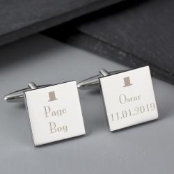 Personalised Decorative Wedding Page Boy Cufflinks