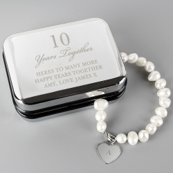 Personalised Anniversary Silver Box and Pearl Bracelet
