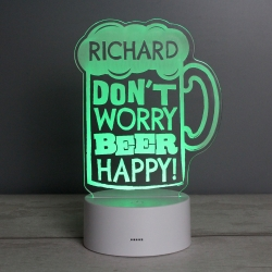 "Personalised ""Beer Happy"" LED Colour Changing Light"