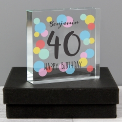 Personalised Birthday Colour Confetti Large Crystal Token