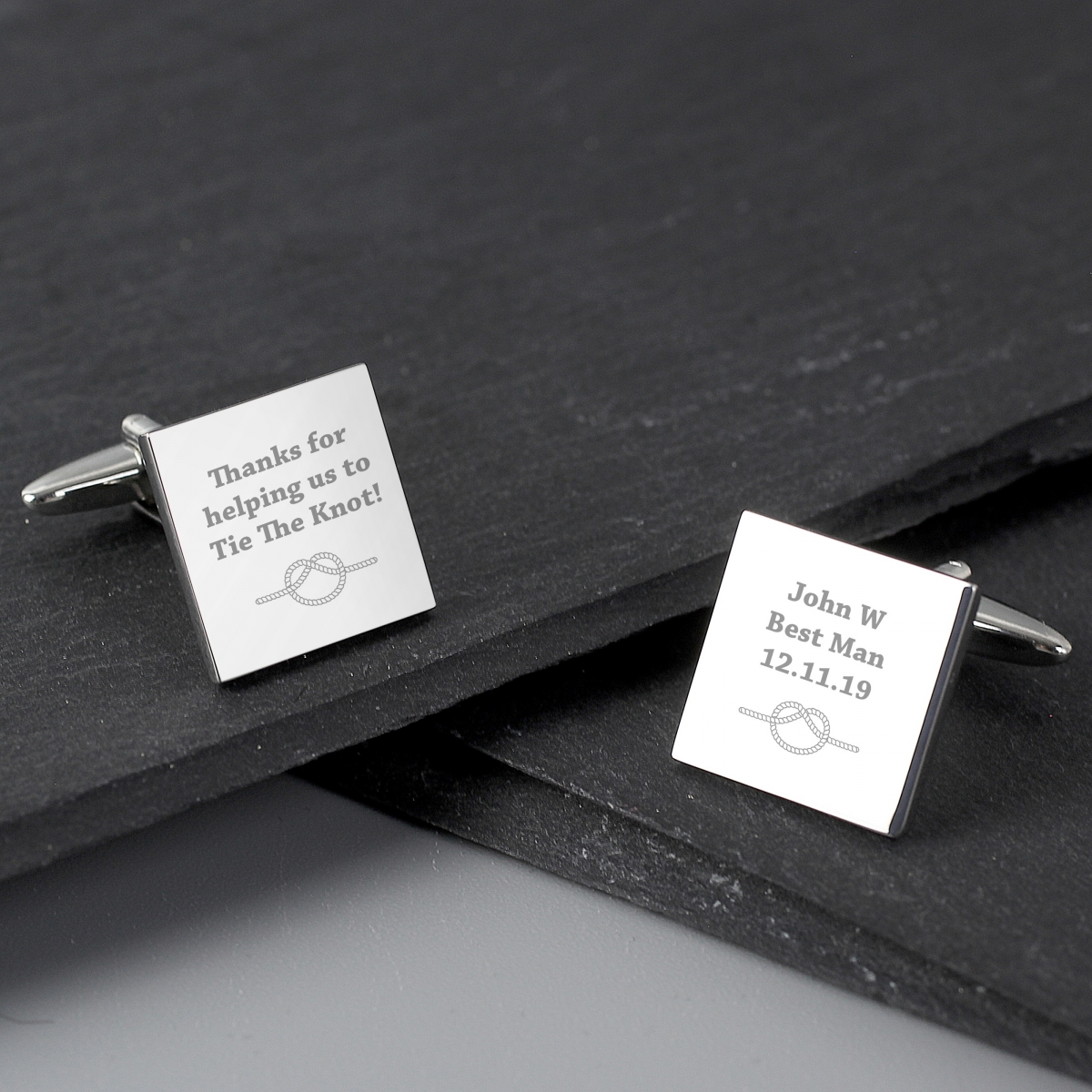 Personalised Tie the Knot Square Cufflinks