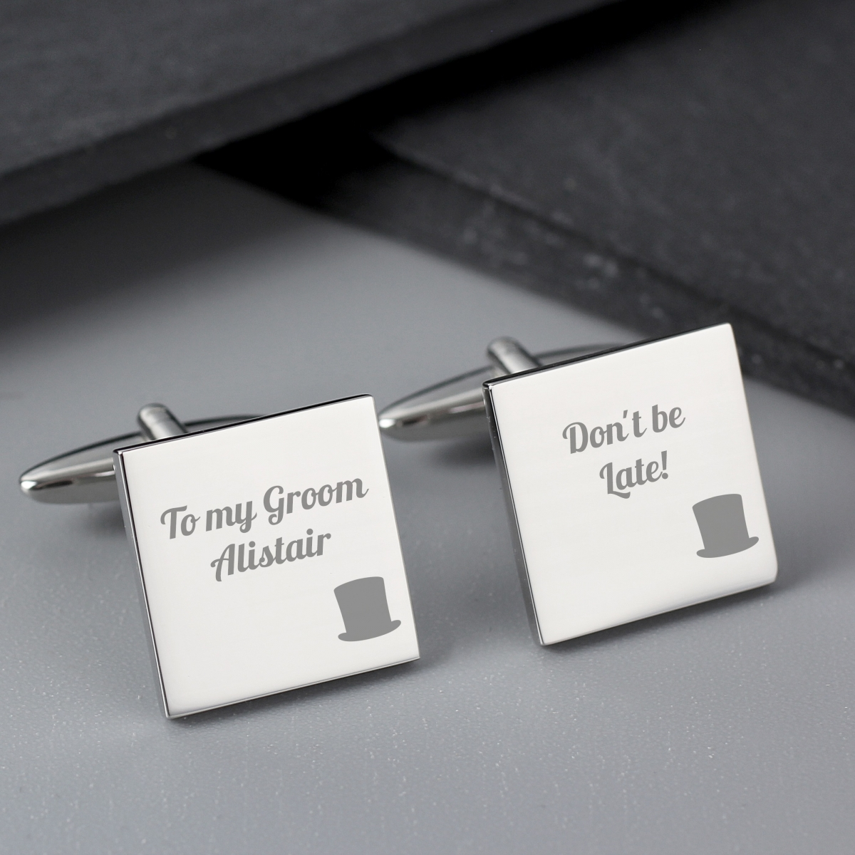Personalised Top Hat Wedding Square Cufflinks