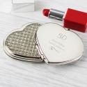 Personalised Swirls & Hearts Diamante Heart Compact Mirror