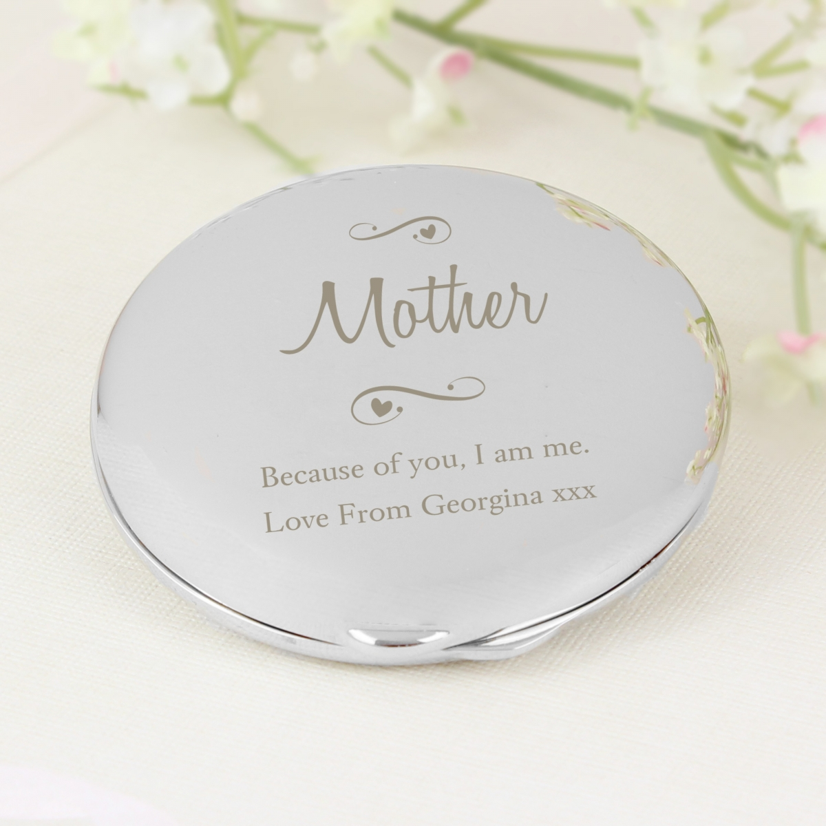 Personalised 'Any Message' Swirls & Hearts Compact Mirror