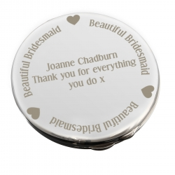 Personalised 'Beautiful Bridesmaid' Compact Mirror