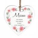 Personalised Floral Sentimental Wooden Heart Decoration
