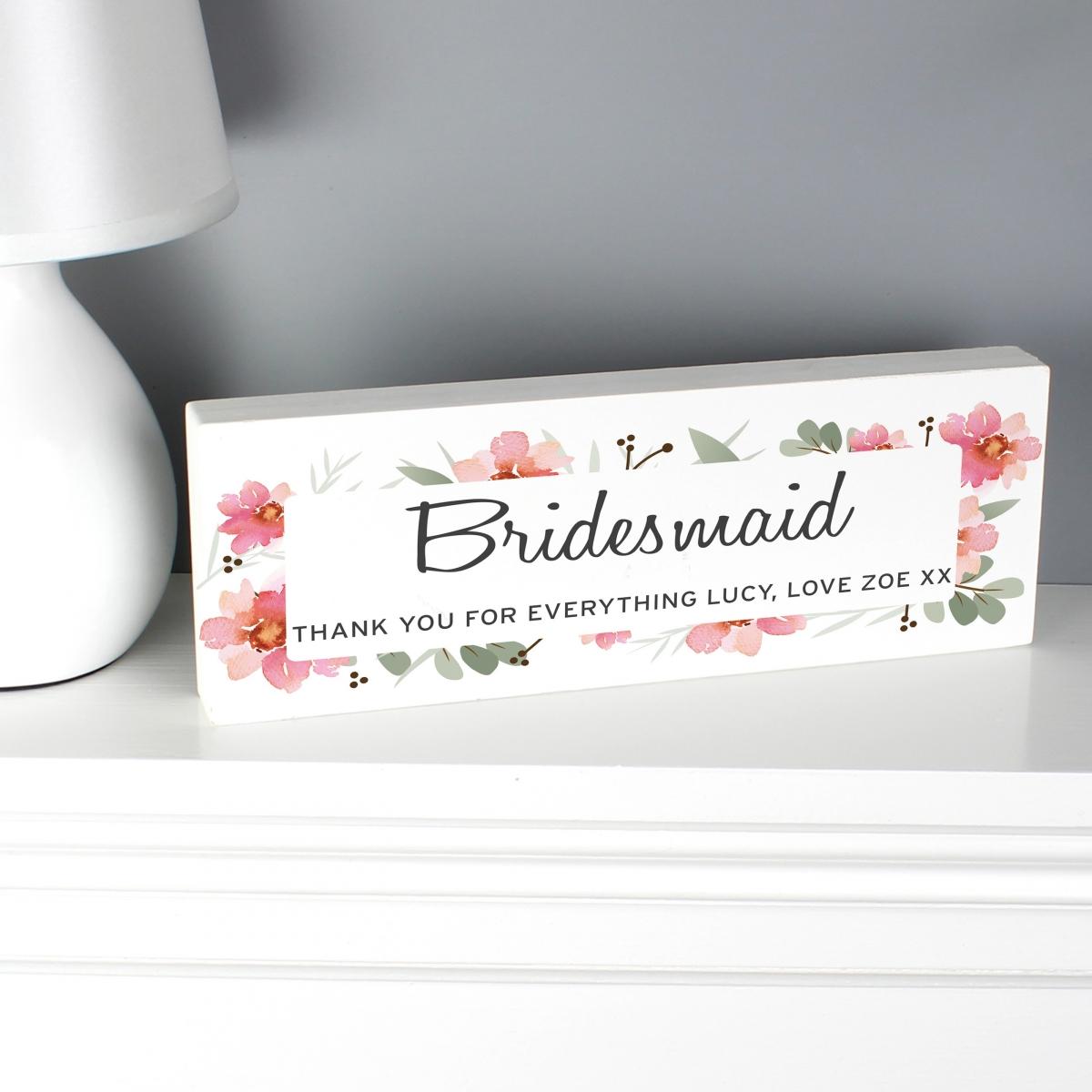 Personalised Floral Sentimental Wooden Block Sign