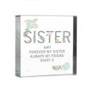 Personalised Floral Sister Large Crystal Token